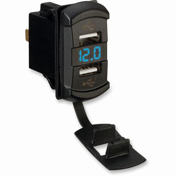 Dual USB lader met volt meter