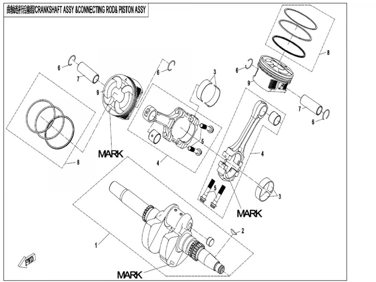 Crankshaft + pistons assy