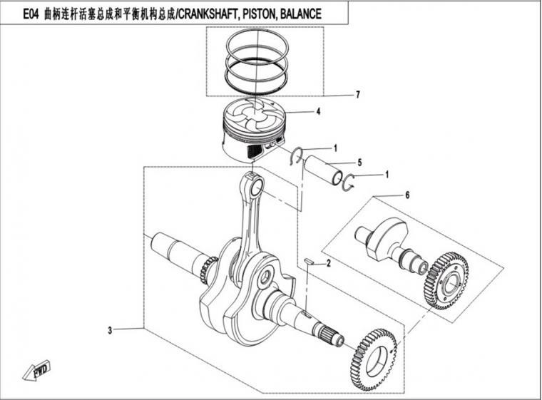 Crankshaft/piston/balance