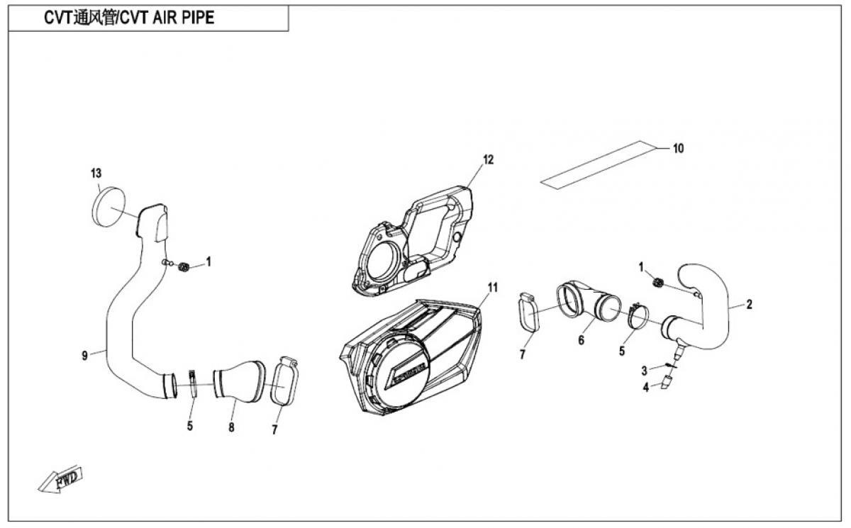 CVT air pipe
