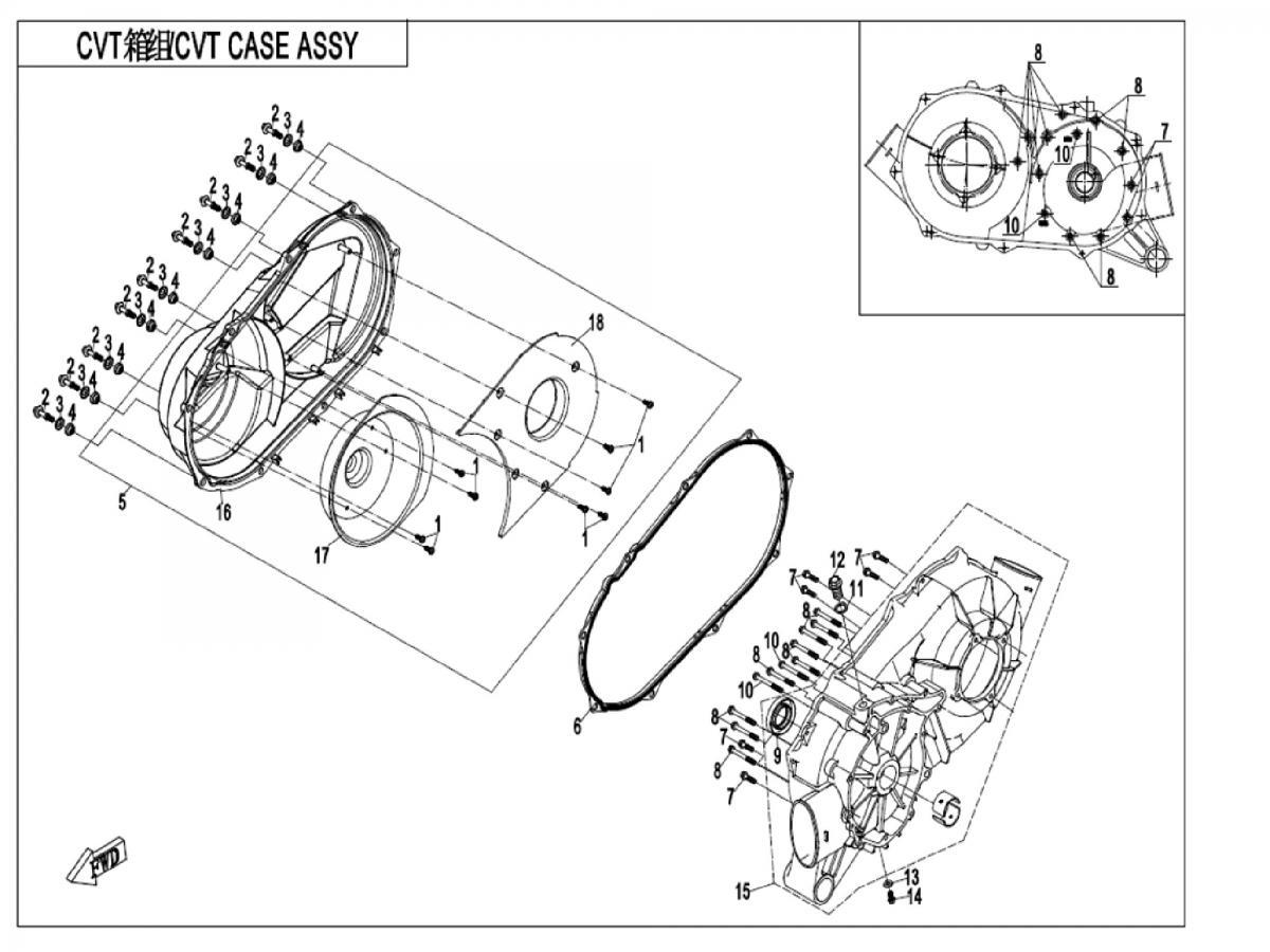 CVT case assy