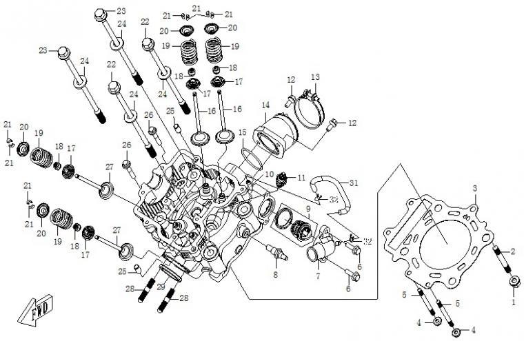 Cylinder head (carburator)